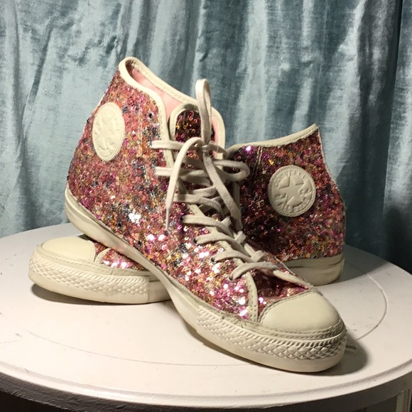 Converse Pink Rainbow Sequin High Tops